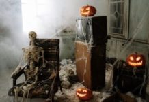 Image of a skeleton and pumpkin display