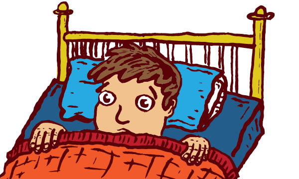 Illustration of a boy in bed with covers pulled up to his face