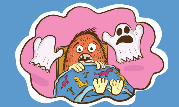 Monster child in a pink thought bubble surrounded by ghosts
