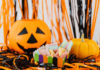Halloween decorations and candy on a table