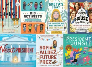 a collage of covers of kids books about U.S. Elections