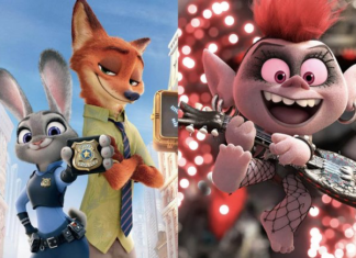 Images from Zootopia and Trolls