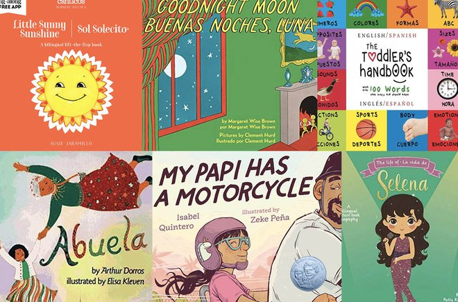 Collage of covers of bilingual picture books for kids