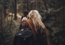 The back of two people on a hike in the woods
