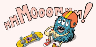 A blue monster sitting on the ground near a skateboard, holding his knew with the word mom in pink above him