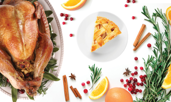 A turkey, cranberries, slice of pie and garnish on a white background
