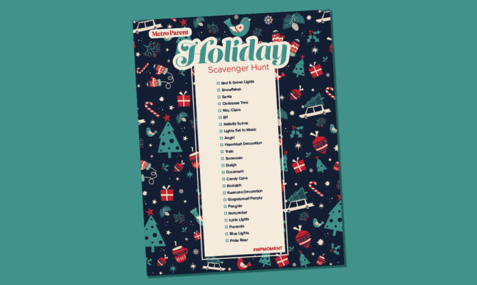 The holiday scavenger hunt list on a teal background