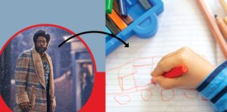 An image from Jingle Jangle on a blue and red background with an arrow pointing to an image of a child coloring