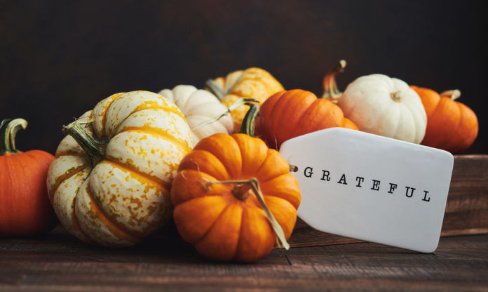 A pile of different color pumpkins with a tag that says grateful