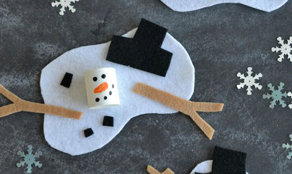 Melted snowman on a grey background