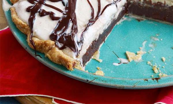 Chocolate no-bake pie on teal plate