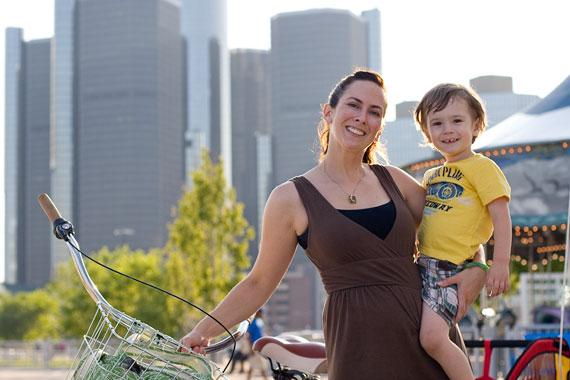 Lisa McNish and son Kiernan bike to the Detroit RiverWalk, close to their Corktown home.