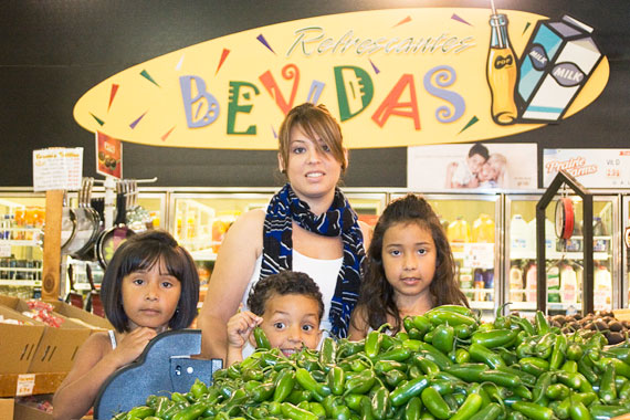 Daniela Hernandez and her children at the E & L Supermercado in Southwest Detroit.