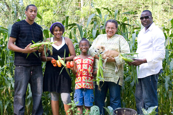 Tamara Robinson and her family in their urban farm in Brightmoor, near their home in North Rosedale Park.