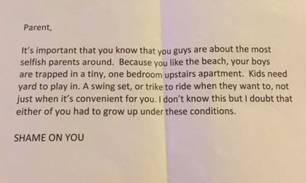Neighbor Shames Parents for Living in an Apartment