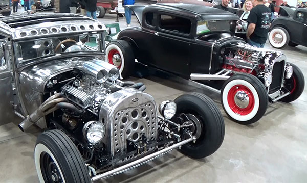 Two car displays at Autorama