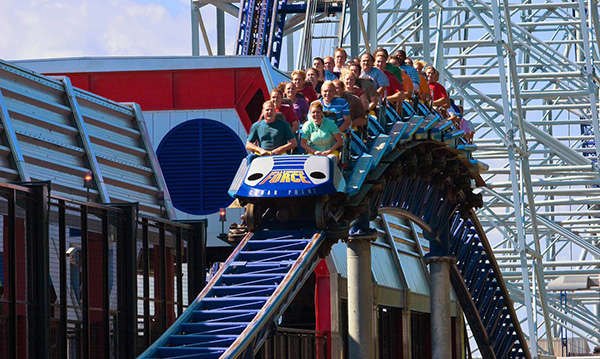 Guests riding Millennium Force at Cedar Point