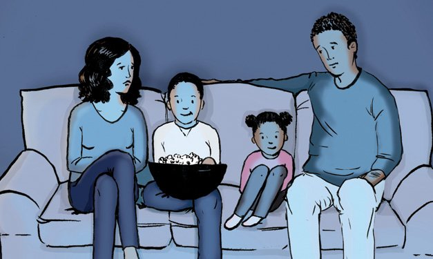 Illustration of two kids, a man and a woman sitting on a couch