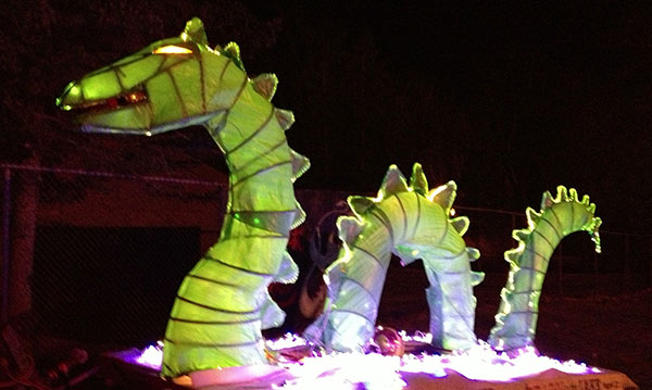 Green lighted dragon float