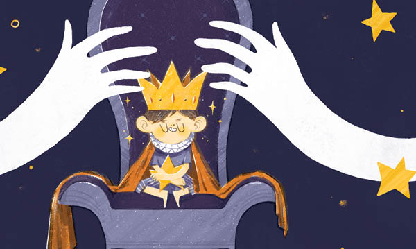 An illustration of parents' hands reaching to remove a kid's crown