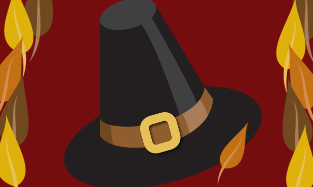 A pilgrim hat on a red background