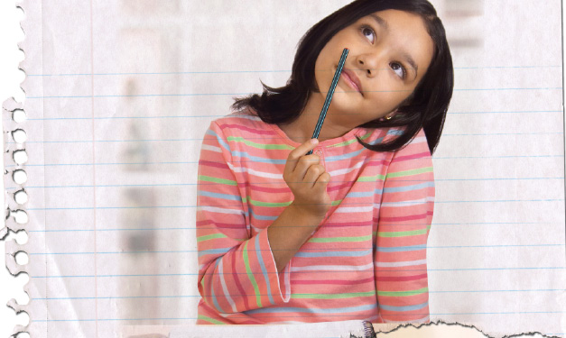 Girl holding pencil by her face