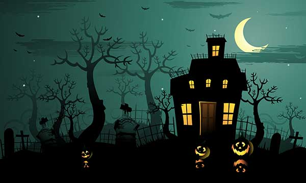 Silhoutte of a creepy house and trees on a greenish background with a cresent moon