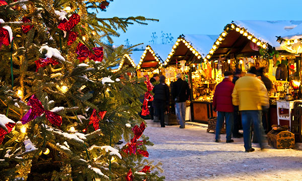 An outdoor holiday market