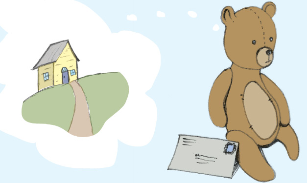 A bear with a letter faces away from a house on a cloud
