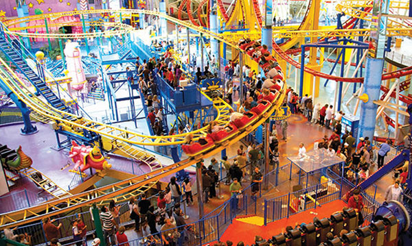 Image of an indoor roller coaster