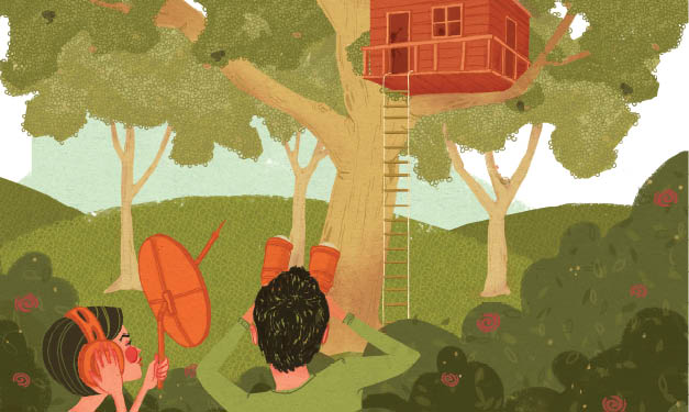 An illustration of two people spying on a treehouse