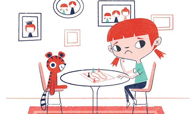 Illustration of sad girl sitting at table across from stuffed animal. Photos behind her
