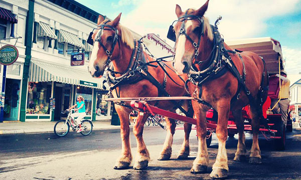 Horse-drawn carriage on Main Street at Mackinac Island
