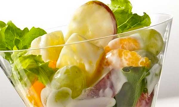 Fruit salad in a glass dish