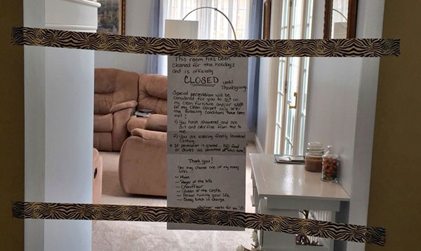 Mom Closes Living Room to Get Ready for Thanksgiving