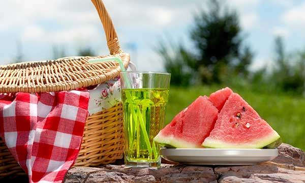 Watermelon and a picnic basket on a picnic table