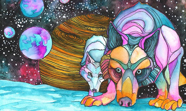 painting of cosmic wolves