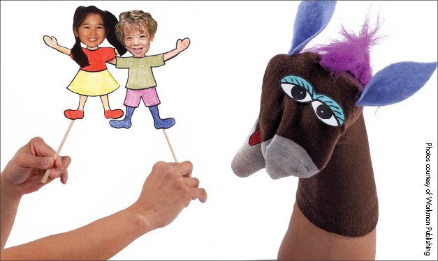 Children rod-style puppets and a donkey sock puppet