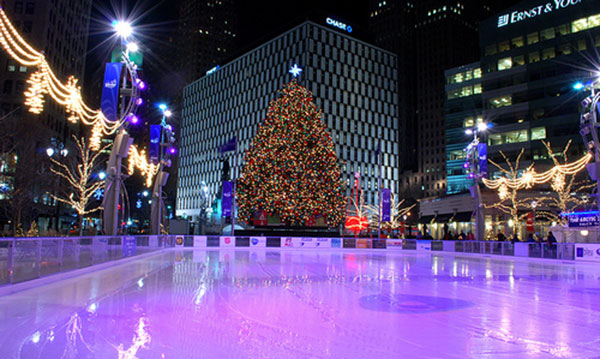 A shot of the tree at Campus Martius Park from the ice rink