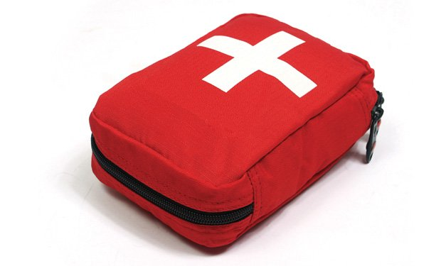 A red medical bag on a white background