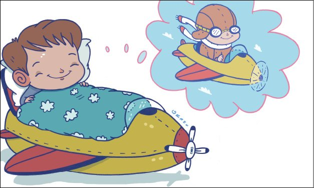 Illustration of a child in a rocket bed dreaming of flying