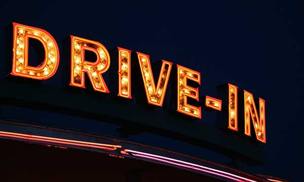 drive-in marquee on a dark background
