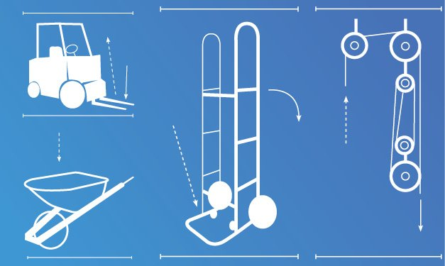Drawings of heavy lifting equipment on a blue background