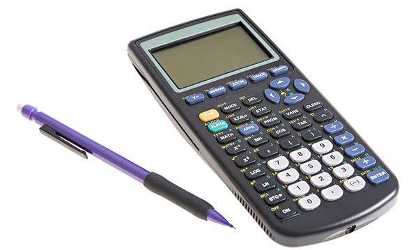 Graphing calculator and mechanical pencil on a white background