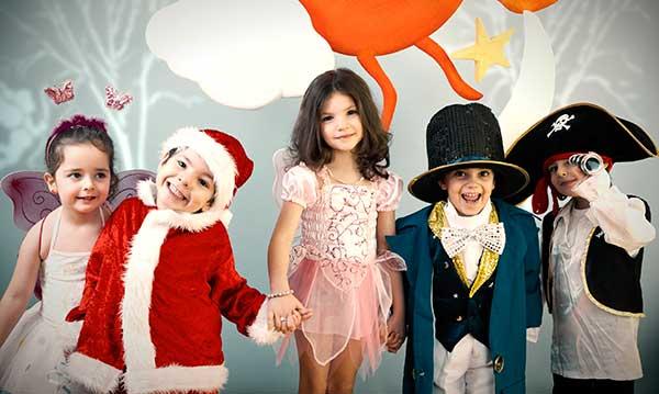 Five kids in costume