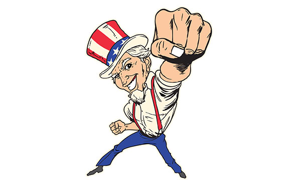 Cartoon rendition of Uncle Sam punching up
