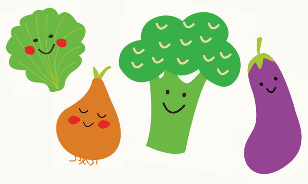Four happy cartoon vegetables on a white background
