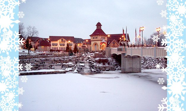 A building in Frankenmuth in the wintertime with blue and white snowflake border