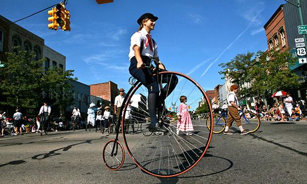Man on old-school bike