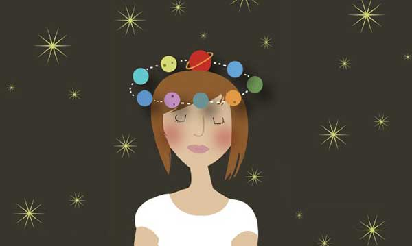 Illustration of teen girl with planets circling her head